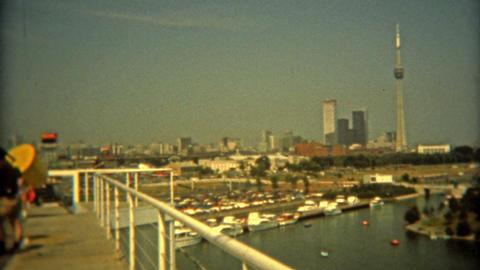 TORONTO, CANADA 1975: Ontario Place amusement park Toronto skyline Footage