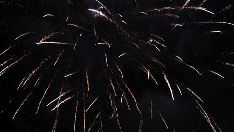 Bright Fireworks Rockets at Night 4k Footage