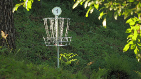 Two disc golf putts are thrown into the basket with jingling metal chains Footage