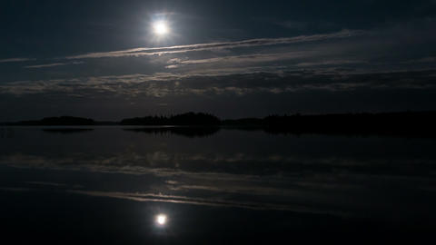 Moon reflections over calm lake time-lapse Footage