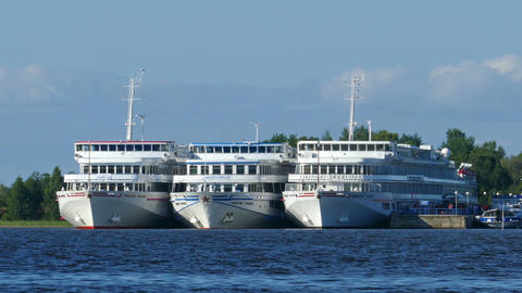 three passenger ship on Lake Onega, Karelia Footage