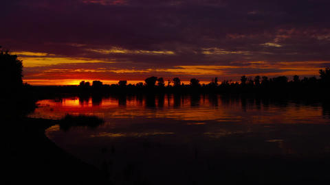 river sunset landscape, timelapse, pan view Footage