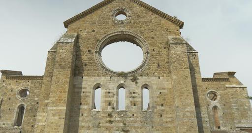 San Galgano Abbey Exterior Tilt 01 stock footage
