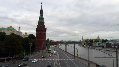 Moscow Kremlin quay, car, boat, autumn 2015 timelapse Footage