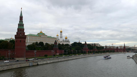 Moscow Kremlin and the river with ships in September 2015 Footage