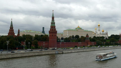 Moscow Kremlin (view from the bridge) in September 2015 UHD Footage