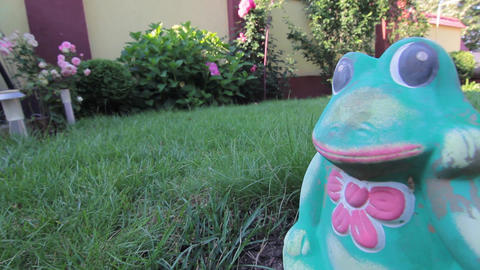 Frog Statue In The Garden stock footage