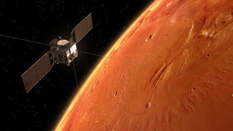 "Interplanetary Space Station ""Mars Express"" Orbiting Planet Mars Animation"