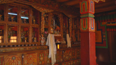 Buddhist Monastery Interior stock footage