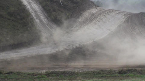 Car Race Smoke and Dust Live Action