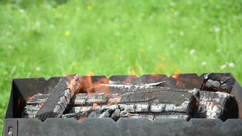 Close up view of the fire tongues and firewoods in the garden barbecue ビデオ