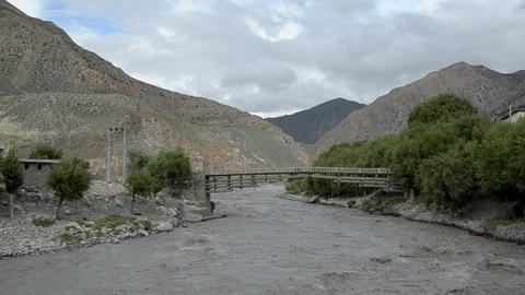 Full-flowing mountain Nepal river Footage