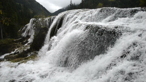 Autumn view of the Jiuzhaigou Valley waterfalls Footage