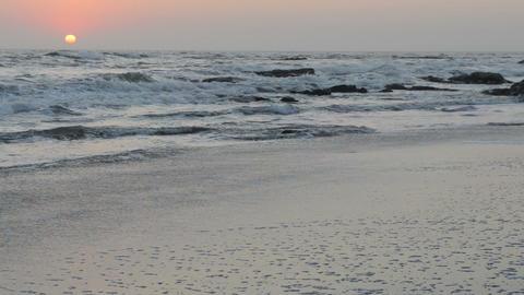 Peaceful and quiet sunset over the Atlantic Ocean coastline Footage