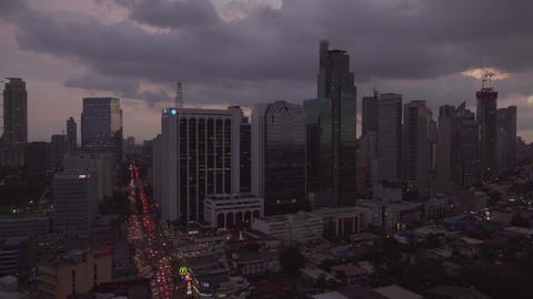 Makati Skyline At Twilight .(Metro Manila - Philippines) stock footage