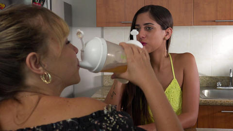3 Women Dieting Drink Low Fat Nutritional Shake For Losing Weight Footage