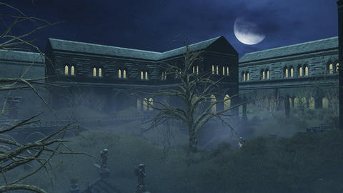 Fantastic big half moon above creepy mansion Footage