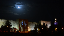 Lightshow and full moon at the walls of Jerusalem (time lapse) Footage