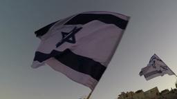 Waving of the Israeli flag, loopable Footage