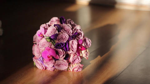 Bridal bouquet on the floor Footage