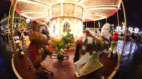 Frightening Carousel That Spins Empty stock footage