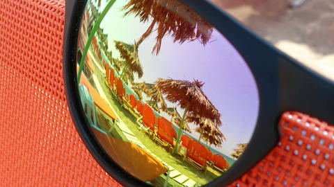 Beach reflection in sunglasses Stock Video Footage