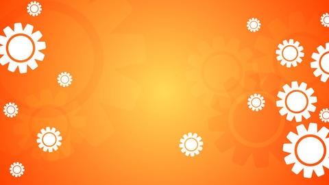 Bright orange video animation with gears icons Animation