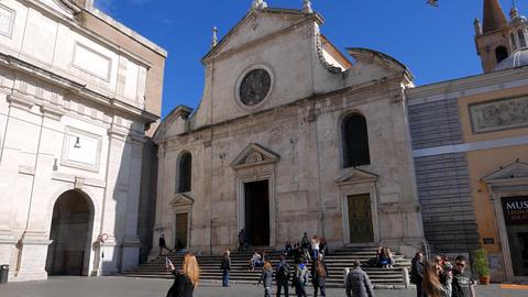 Basilica di Santa Maria del Popolo. Piazza del Popolo, Rome, Italy. 4K Footage