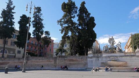 Panorama Piazza del Popolo. Fontana del Nettuno. Rome, Italy. 4K Footage