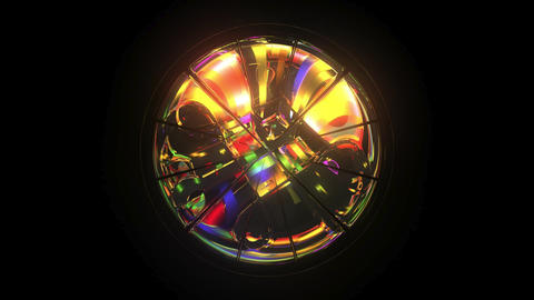 Kaleidoscope: Mirror 3D Model, Rainbow Colours, 6 second Loop Footage
