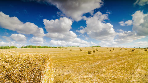 Haystacks On The Field Under The Clouds Time Lapse 4K stock footage