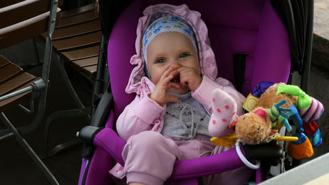 Baby in sitting stroller Footage