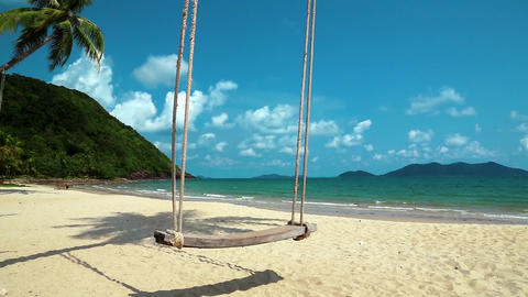 Very beautiful beach and swing Footage