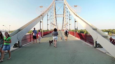 People on the bridge Footage