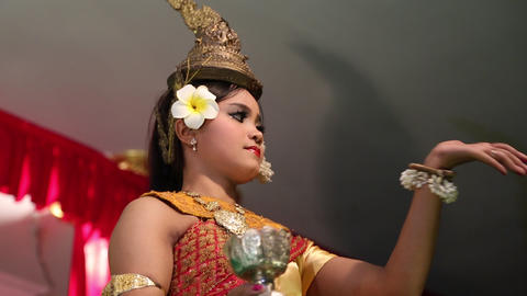 Traditional Apsara dancer in local restaurant in Siem Reap city, Cambodia Footage