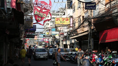 Walking Street is red-light district with many restaurants, go-go bars and broth Footage