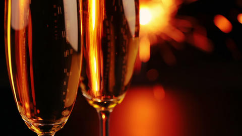 Glasses With Wine And Sparkler stock footage