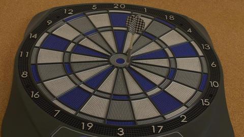 Dart Hitting Bullseyes On Dartboard, Great Aim stock footage