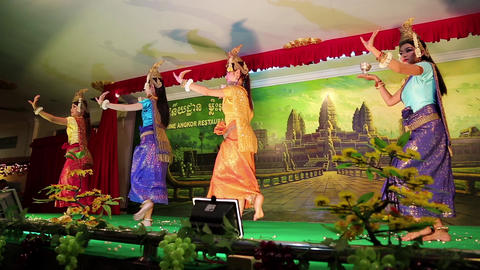Cambodian theatre in local restaurant in Siem Reap city Footage