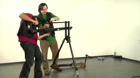 camcorder on crane Footage