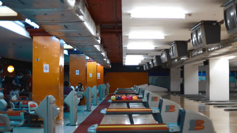 one one lan with a group bowling Stock Video Footage