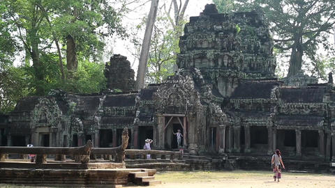 People in Angkor Thom temple complex in Cambodia Footage