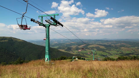 Cable road in Carpathian mountains, Ukraine Footage