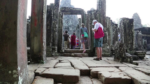 People at Bayon - Khmer temple complex at Angkor Thom, Siem Reap, Cambodia Footage