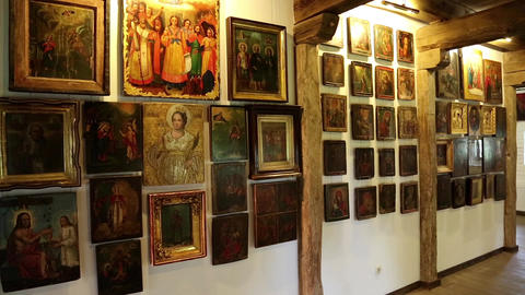 Old icons inside Radomysl Castle, the museum of Ukrainian home icons Live Action