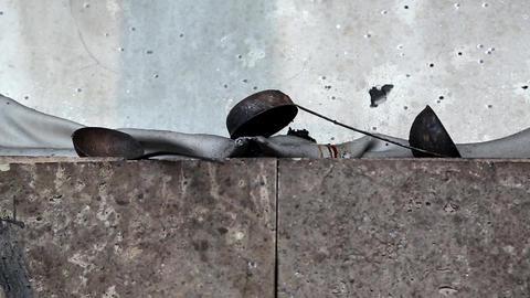 Tableware on charred ruins in burnt building Footage