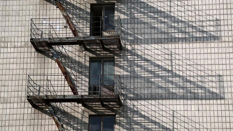 Fire escape on old building Footage