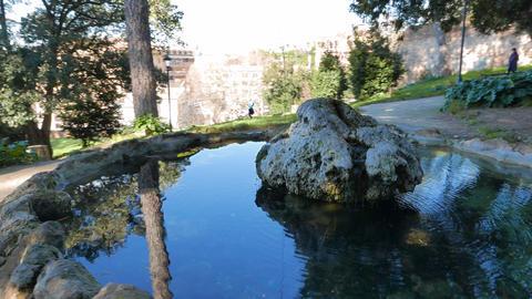 Fountain on a hillside Pincio. Rome, Italy. 4K Footage