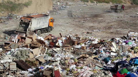 Garbage truck on dump Footage