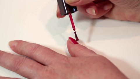 Woman doing nails in beauty salon Footage